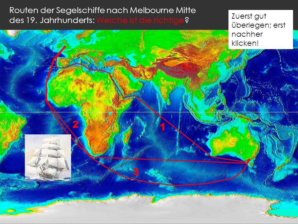 Routen der Segelschiffe nach Melbourne Mitte des 19