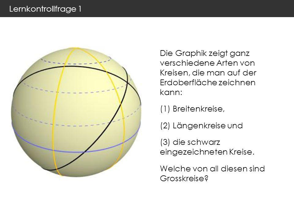 Lernkontrollfrage 1 Die Graphik zeigt ganz verschiedene Arten von Kreisen, die man auf der Erdoberfläche zeichnen kann: