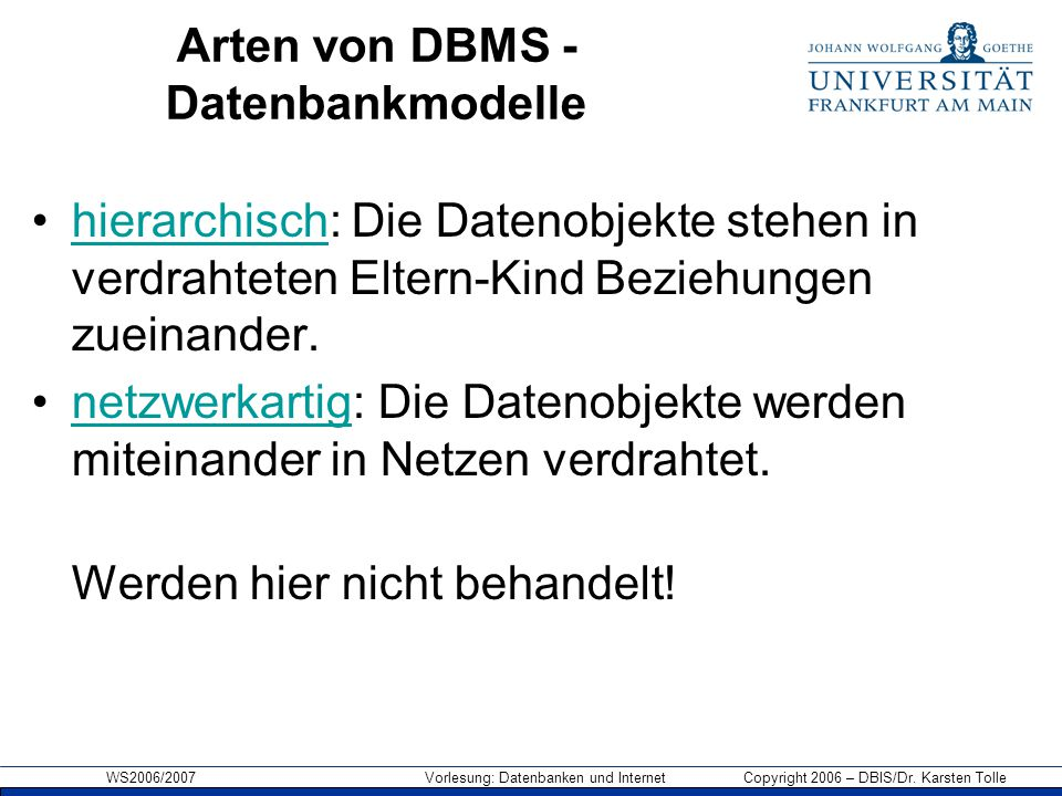 Arten von DBMS - Datenbankmodelle