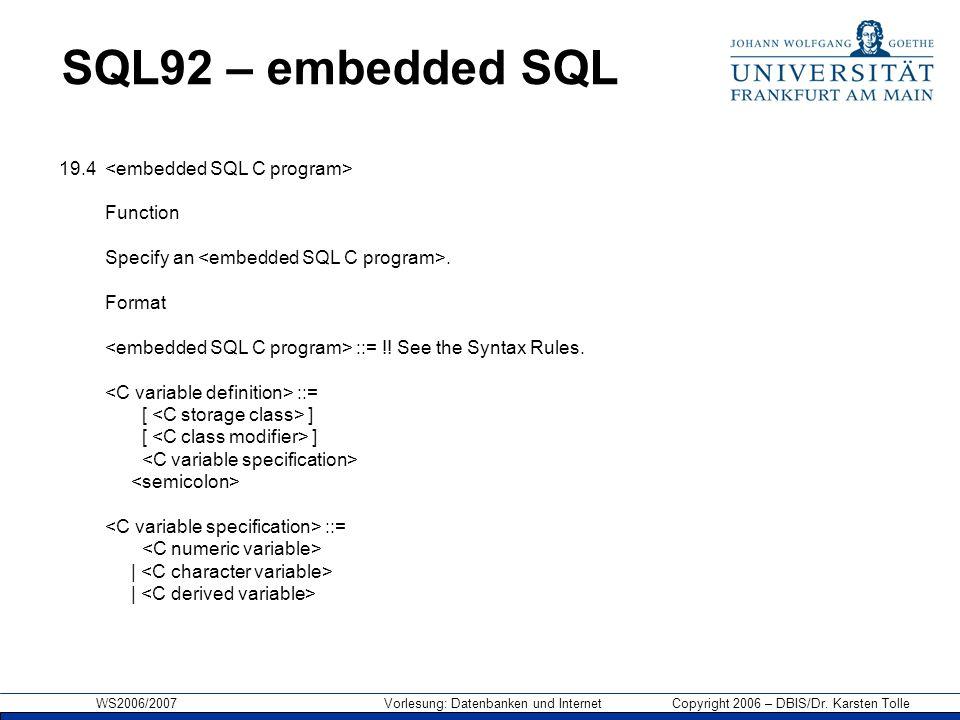 SQL92 – embedded SQL 19.4 <embedded SQL C program> Function