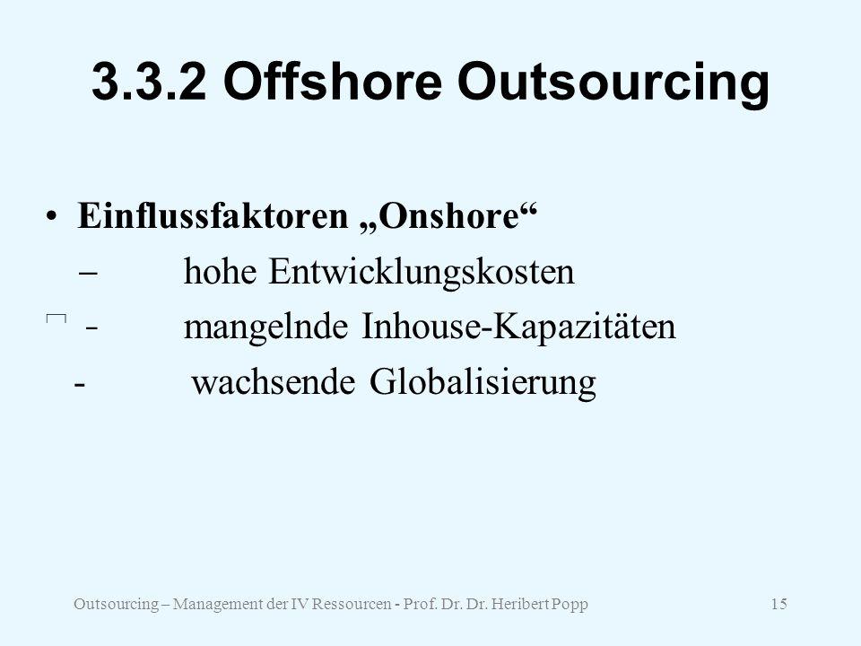 "3.3.2 Offshore Outsourcing Einflussfaktoren ""Onshore"