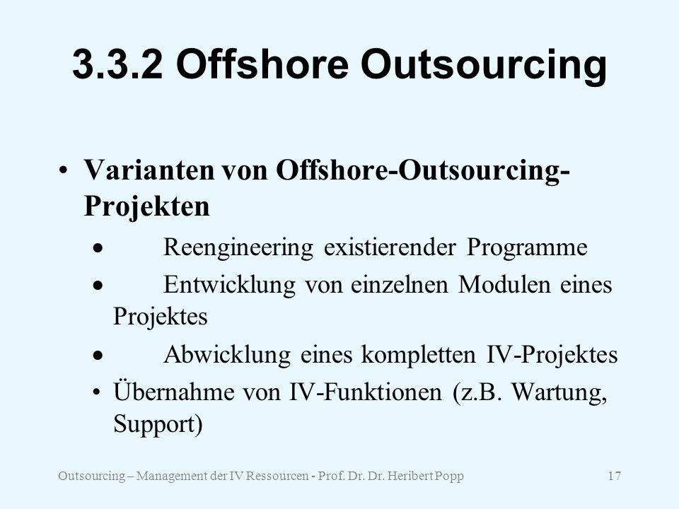 3.3.2 Offshore Outsourcing Varianten von Offshore-Outsourcing-Projekten. · Reengineering existierender Programme.
