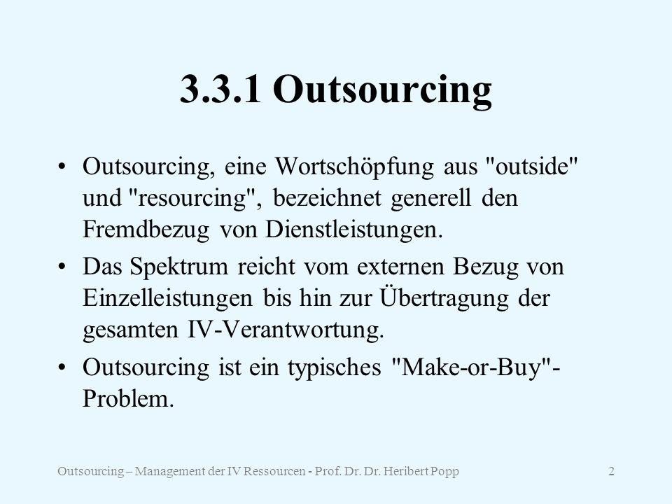 3.3.1 Outsourcing Outsourcing, eine Wortschöpfung aus outside und resourcing , bezeichnet generell den Fremdbezug von Dienstleistungen.