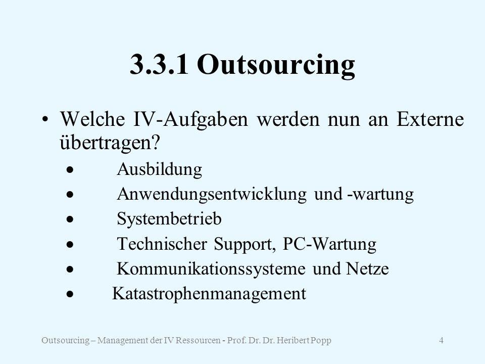 3.3.1 Outsourcing Welche IV-Aufgaben werden nun an Externe übertragen