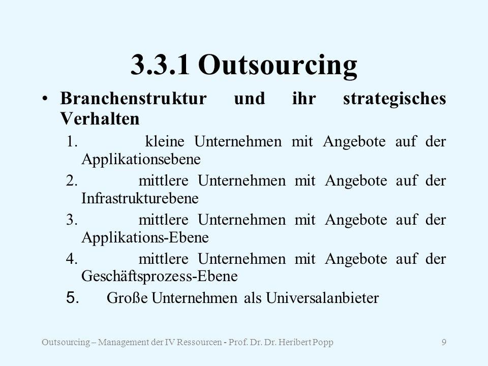 3.3.1 Outsourcing Branchenstruktur und ihr strategisches Verhalten