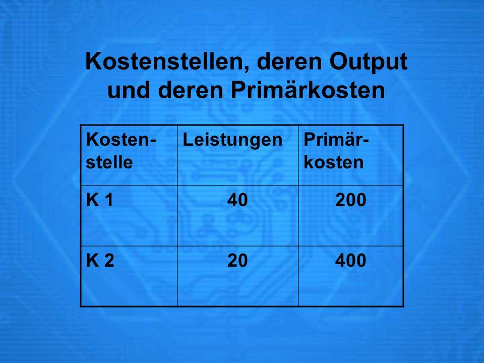 Kostenstellen, deren Output und deren Primärkosten