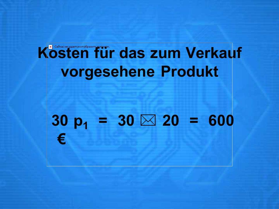Kosten für das zum Verkauf vorgesehene Produkt