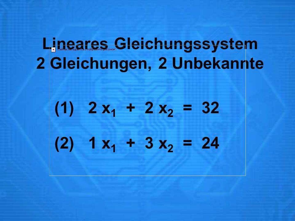 Lineares Gleichungssystem 2 Gleichungen, 2 Unbekannte