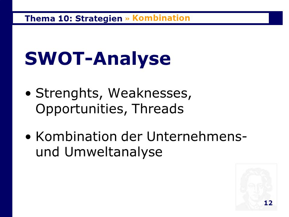 SWOT-Analyse Strenghts, Weaknesses, Opportunities, Threads