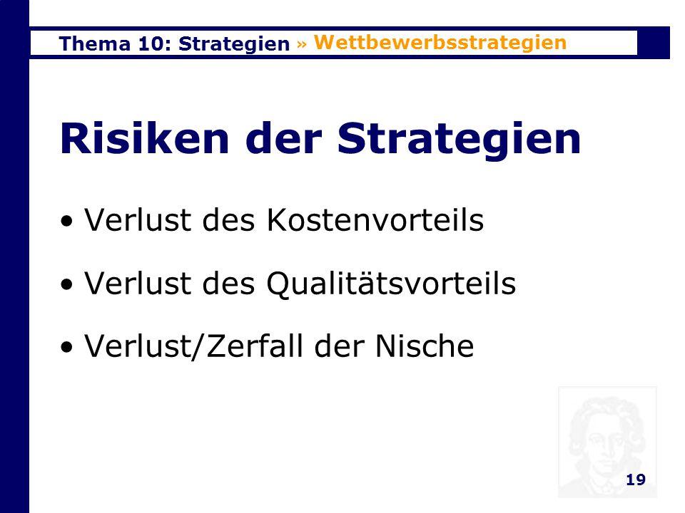 Risiken der Strategien