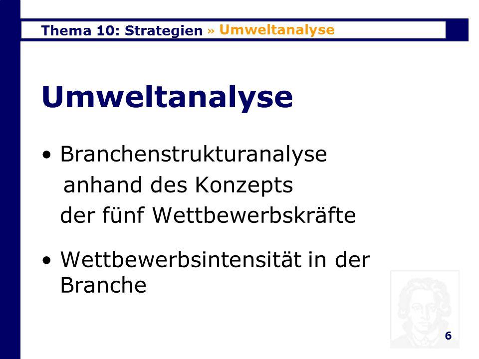 Umweltanalyse Branchenstrukturanalyse anhand des Konzepts