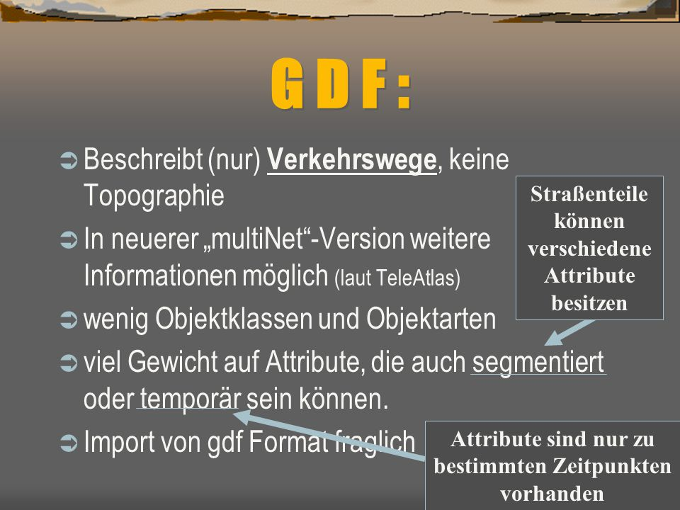 G D F : Beschreibt (nur) Verkehrswege, keine Topographie