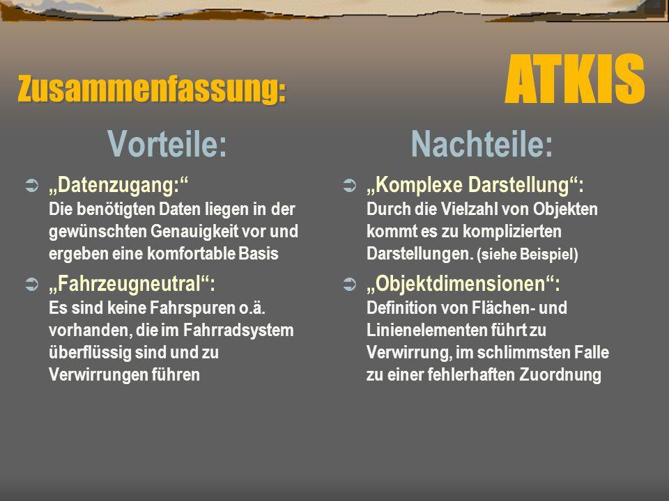 ATKIS Vorteile: Nachteile: Zusammenfassung: