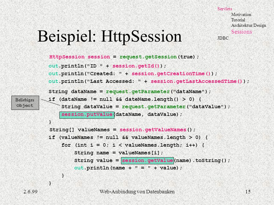 Beispiel: HttpSession
