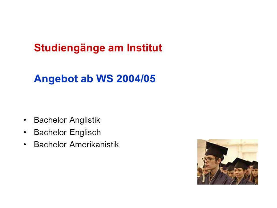 Studiengänge am Institut Angebot ab WS 2004/05