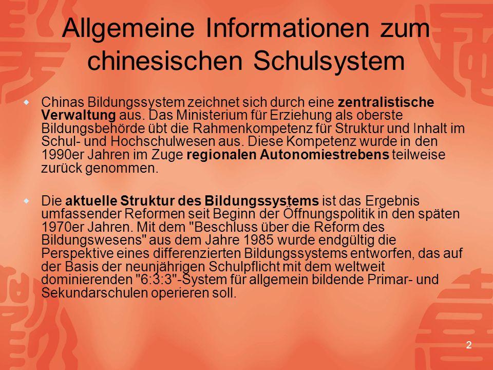 Allgemeine Informationen zum chinesischen Schulsystem