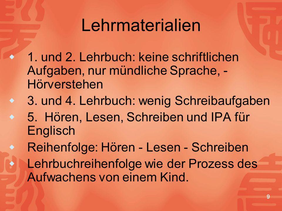 Lehrmaterialien 1. und 2. Lehrbuch: keine schriftlichen Aufgaben, nur mündliche Sprache, -Hörverstehen.