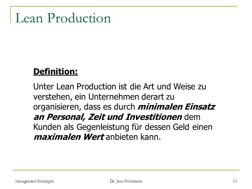 Lean Production Definition:
