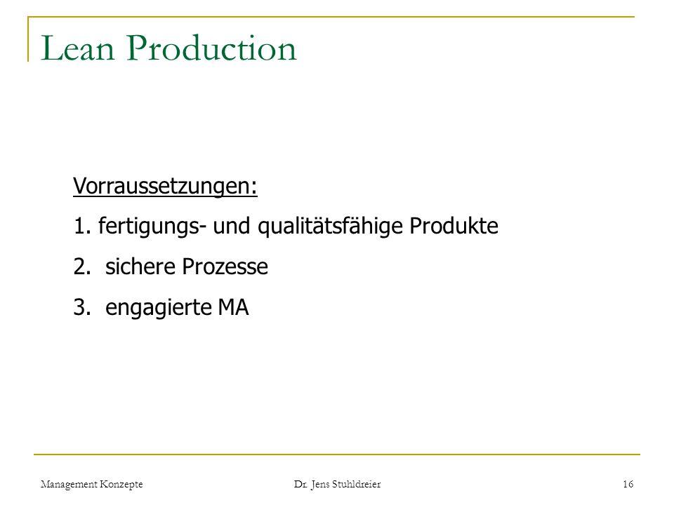 Lean Production Vorraussetzungen: