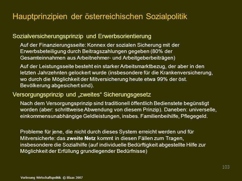 Hauptprinzipien der österreichischen Sozialpolitik