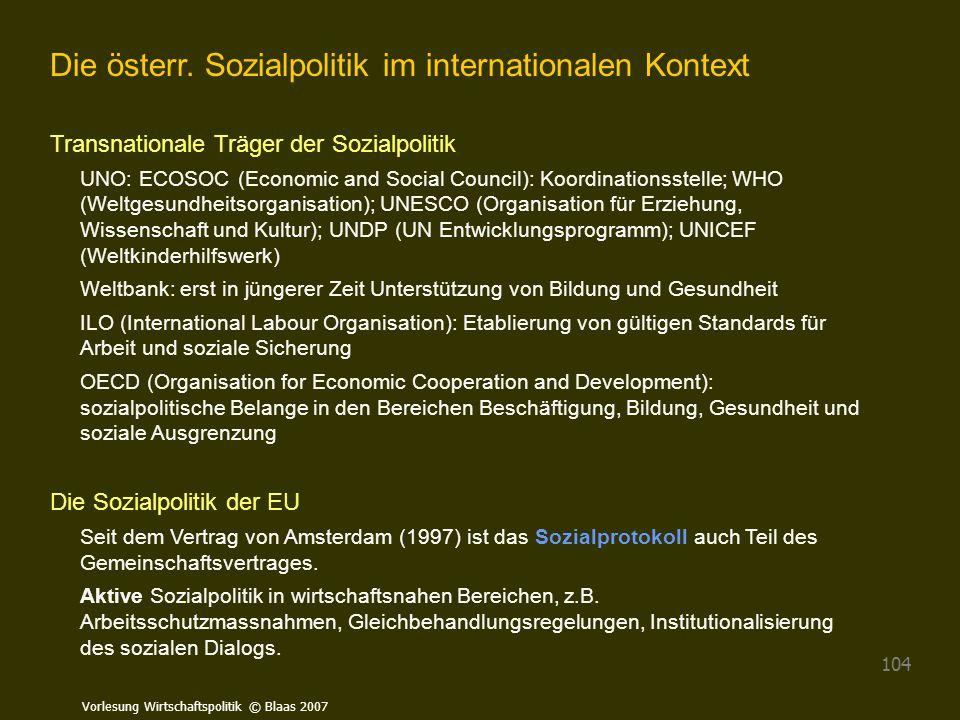 Die österr. Sozialpolitik im internationalen Kontext