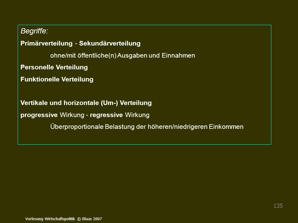 Begriffe: Primärverteilung - Sekundärverteilung