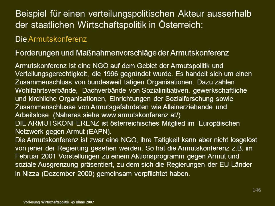 Beispiel für einen verteilungspolitischen Akteur ausserhalb der staatlichen Wirtschaftspolitik in Österreich:
