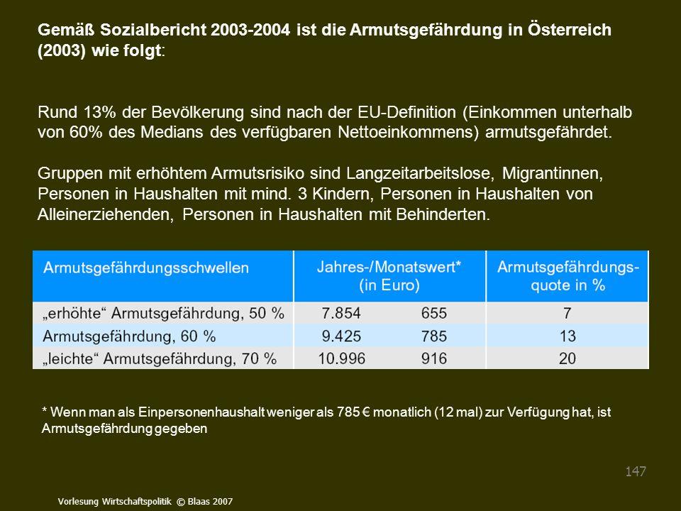 Gemäß Sozialbericht 2003-2004 ist die Armutsgefährdung in Österreich (2003) wie folgt: