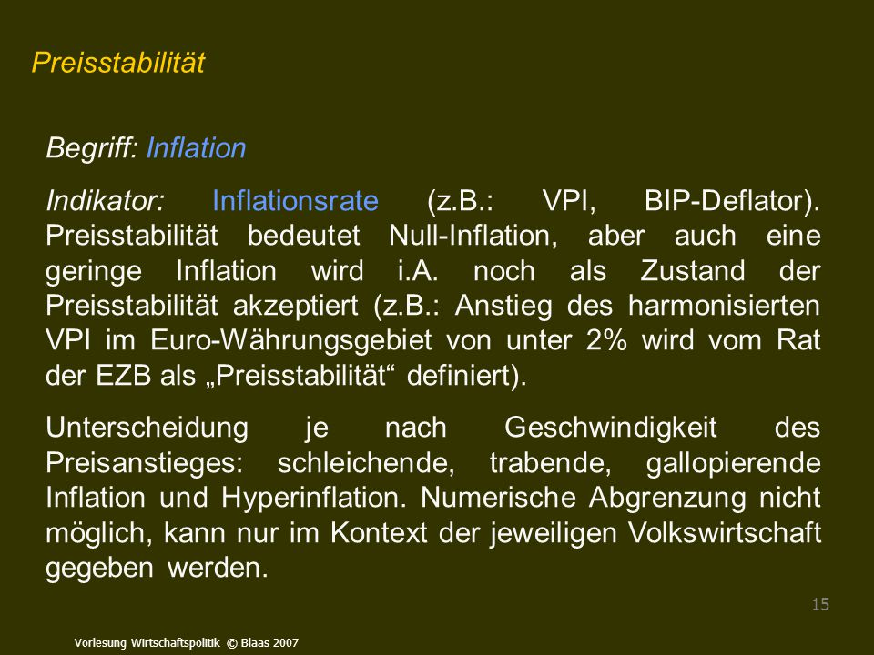 Preisstabilität Begriff: Inflation