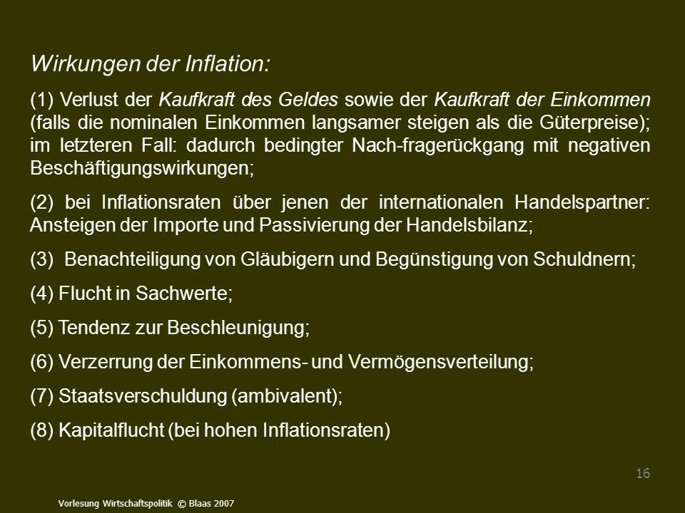 Wirkungen der Inflation: