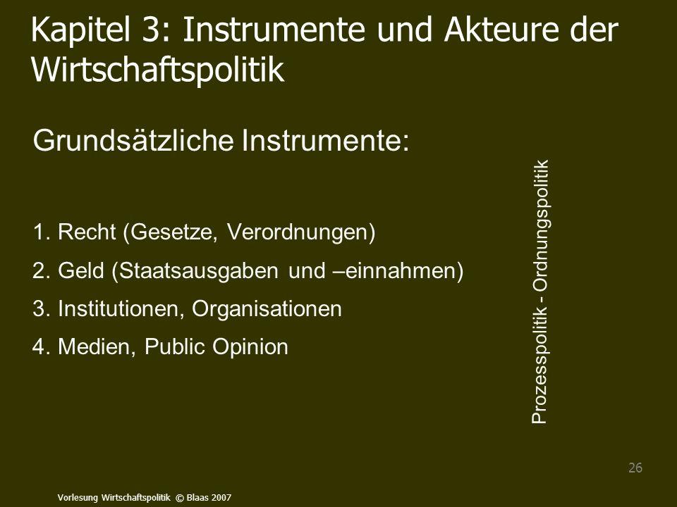 Kapitel 3: Instrumente und Akteure der Wirtschaftspolitik
