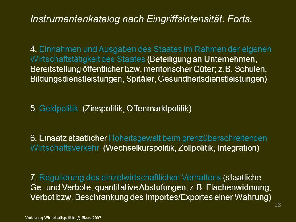 Instrumentenkatalog nach Eingriffsintensität: Forts.