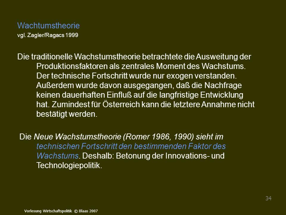 Wachtumstheorie vgl. Zagler/Ragacs 1999.