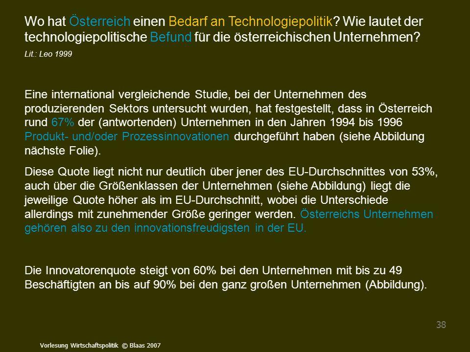 Wo hat Österreich einen Bedarf an Technologiepolitik
