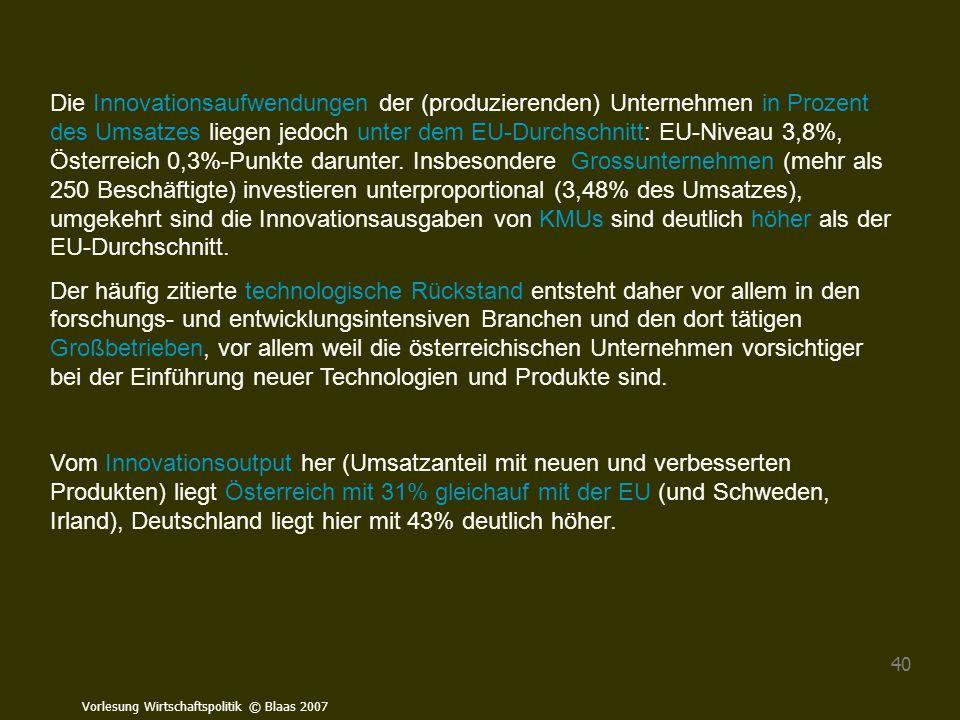 Die Innovationsaufwendungen der (produzierenden) Unternehmen in Prozent des Umsatzes liegen jedoch unter dem EU-Durchschnitt: EU-Niveau 3,8%, Österreich 0,3%-Punkte darunter. Insbesondere Grossunternehmen (mehr als 250 Beschäftigte) investieren unterproportional (3,48% des Umsatzes), umgekehrt sind die Innovationsausgaben von KMUs sind deutlich höher als der EU-Durchschnitt.