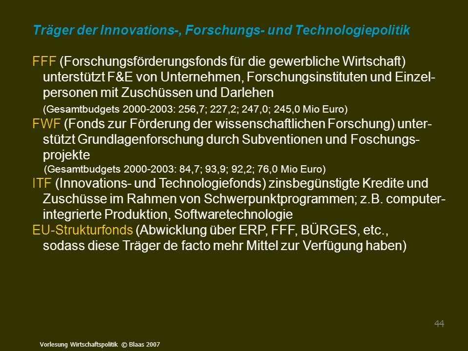 Träger der Innovations-, Forschungs- und Technologiepolitik
