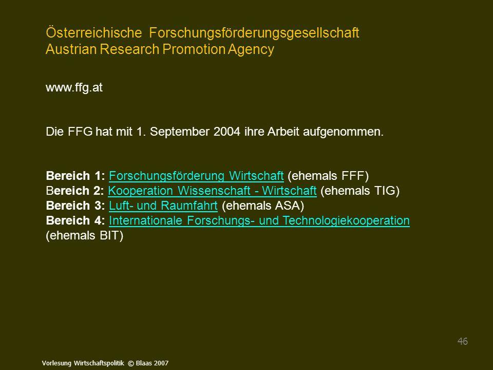 Österreichische Forschungsförderungsgesellschaft Austrian Research Promotion Agency