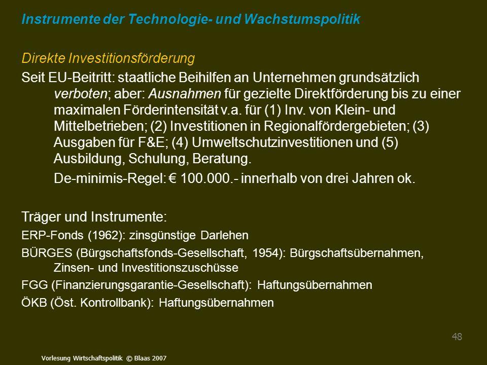 Instrumente der Technologie- und Wachstumspolitik