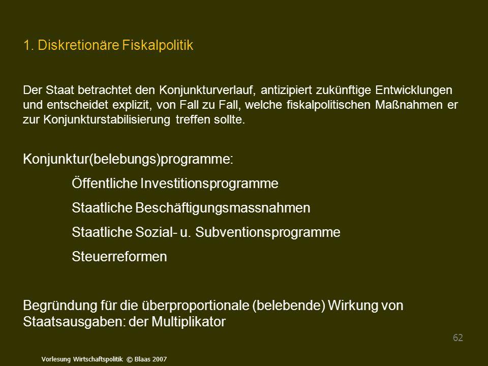 1. Diskretionäre Fiskalpolitik