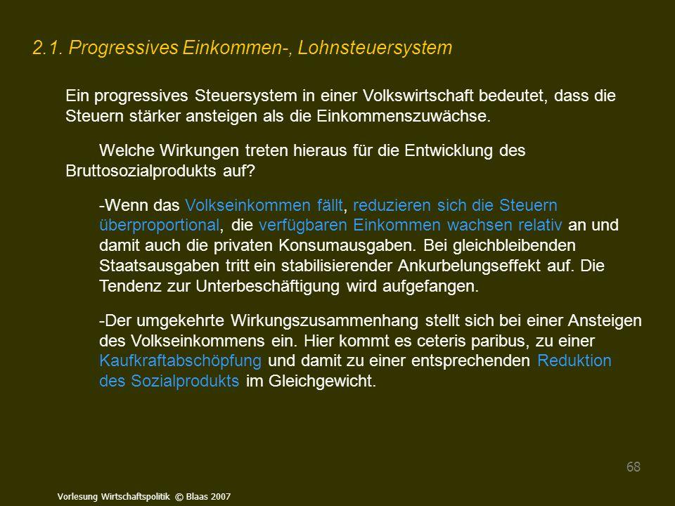 2.1. Progressives Einkommen-, Lohnsteuersystem