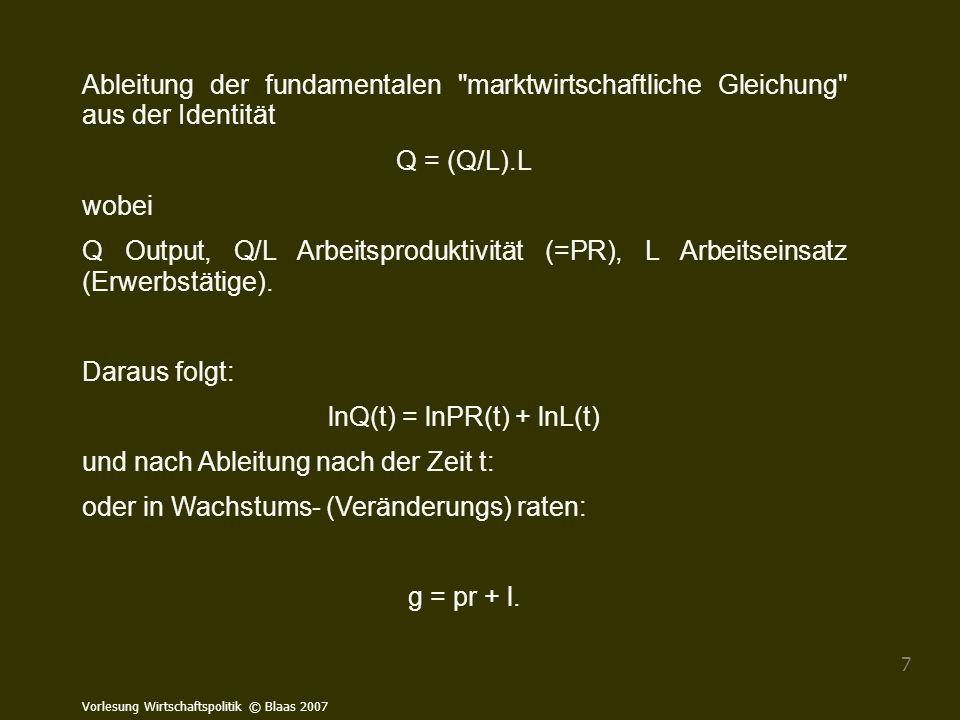 lnQ(t) = lnPR(t) + lnL(t)