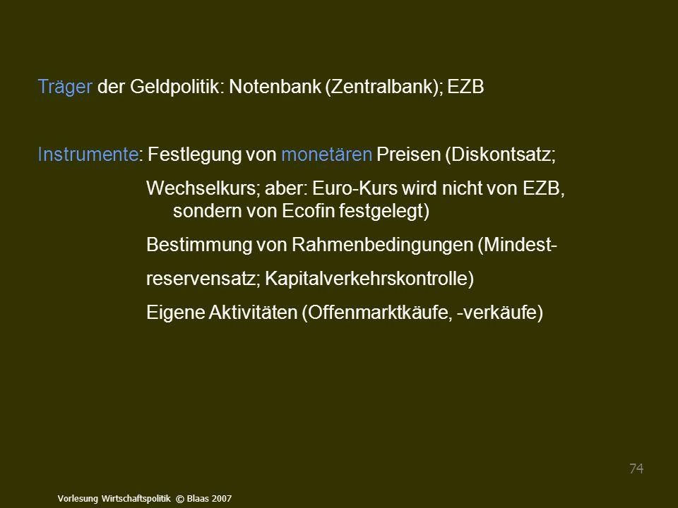 Träger der Geldpolitik: Notenbank (Zentralbank); EZB
