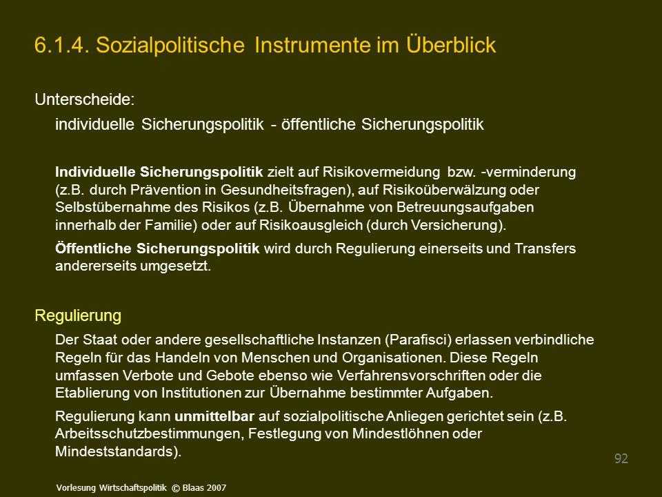 6.1.4. Sozialpolitische Instrumente im Überblick