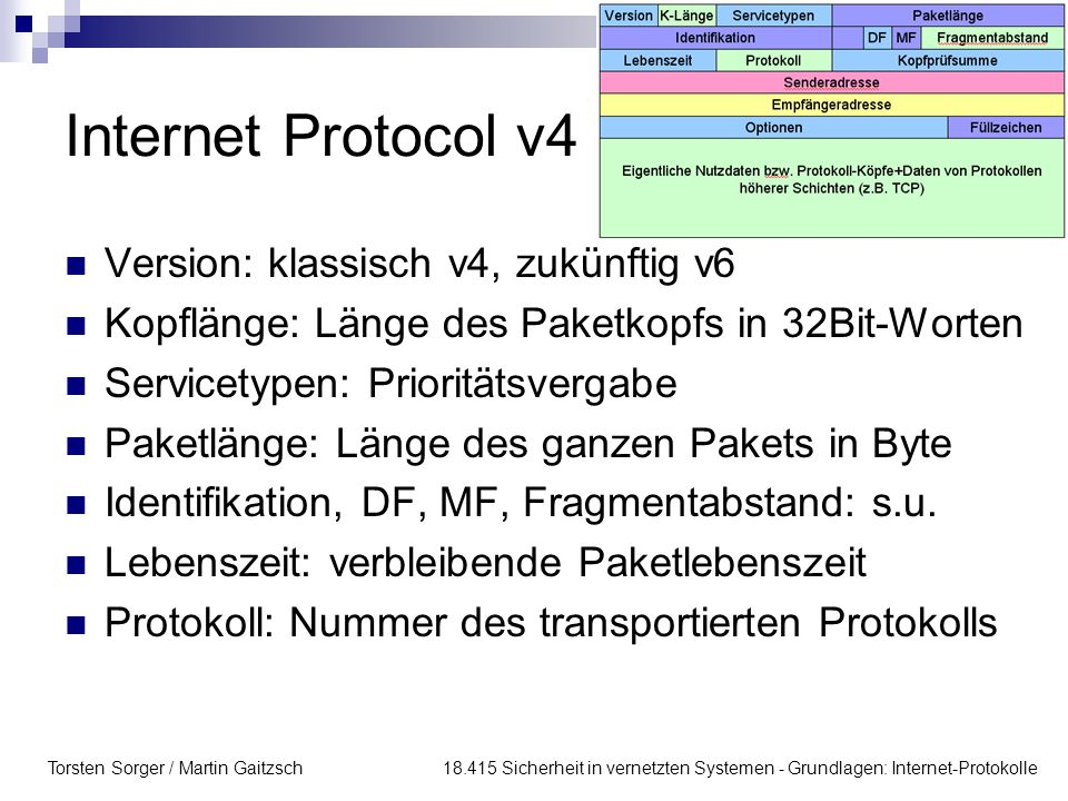 Internet Protocol v4 Version: klassisch v4, zukünftig v6