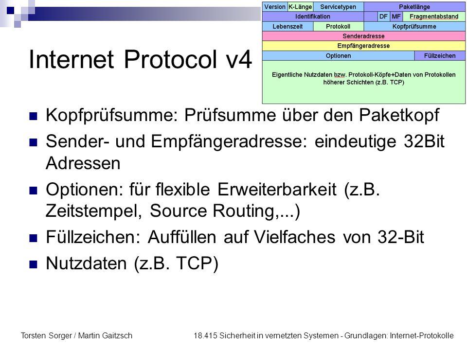 Internet Protocol v4 Kopfprüfsumme: Prüfsumme über den Paketkopf