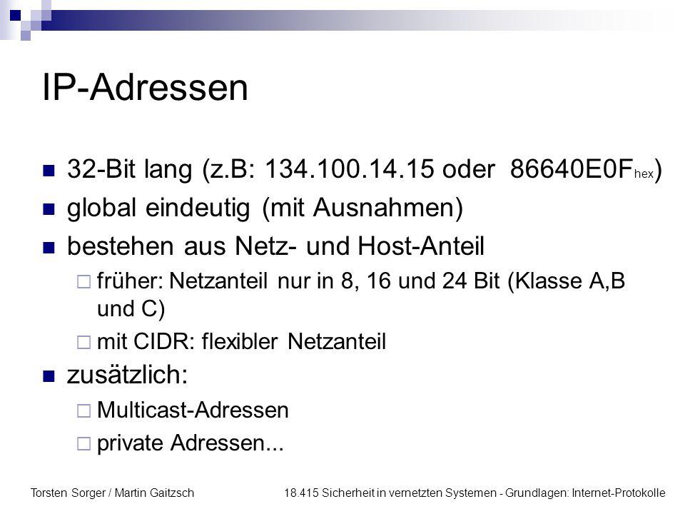 IP-Adressen 32-Bit lang (z.B: 134.100.14.15 oder 86640E0Fhex)