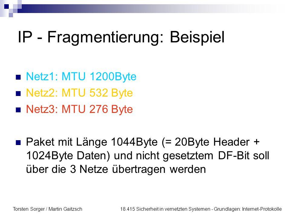 IP - Fragmentierung: Beispiel