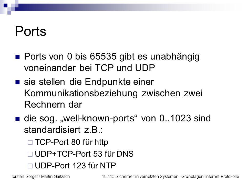 Ports Ports von 0 bis 65535 gibt es unabhängig voneinander bei TCP und UDP.