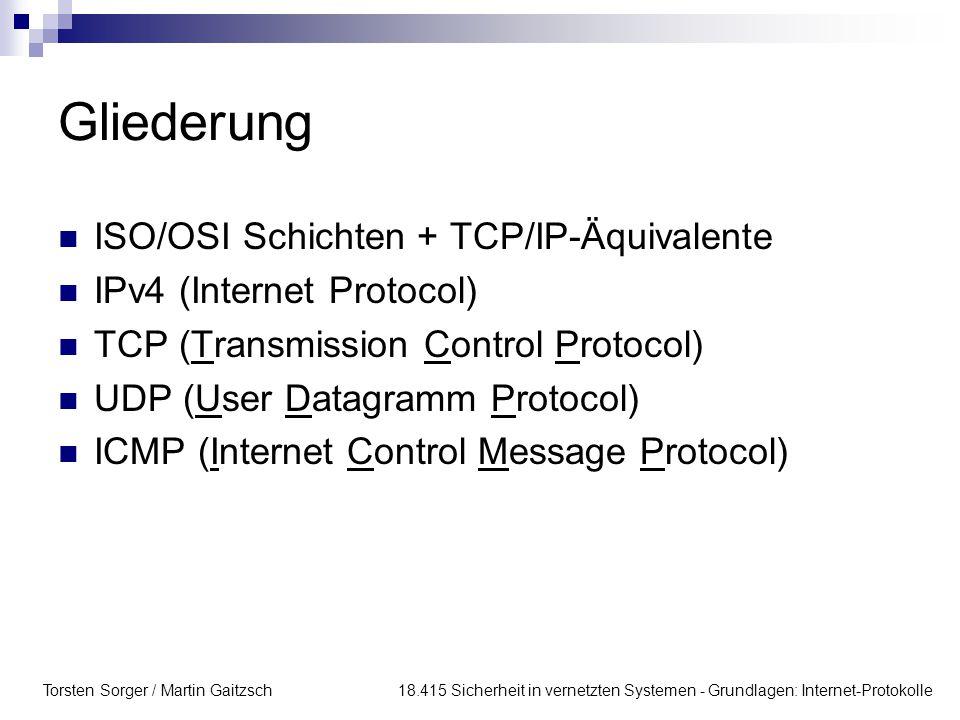 Gliederung ISO/OSI Schichten + TCP/IP-Äquivalente
