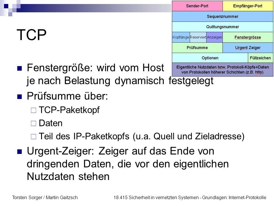 TCP Fenstergröße: wird vom Host je nach Belastung dynamisch festgelegt